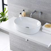 Vasque à poser ovale 48 x 35cm Otterton & Mitigeur Mural Mirage