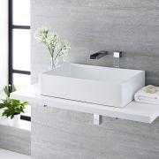 Vasque à poser rectangulaire Haldon 60 x 39cm & Mitigeur mural cascade