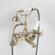 Mélangeur bain douche mural rétro – Commandes croisillons – laiton antique - Elizabeth