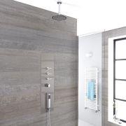 Douche Thermostatique Encastrable 90x22cm Avec Douchette 4 Buses & Pommeau Plafond Orientable Ø 20cm - Gamme Voco