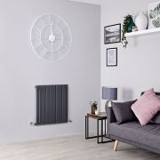 Radiateur Design Horizontal Anthracite Sloane 63,5cm x 60cm x 5,4cm 601 Watts