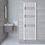Hudson Reed Sèche-Serviettes Électrique Incurvé Blanc Etna 180cm x 50cm x 4,5cm