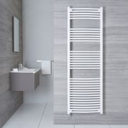 Hudson Reed Sèche-Serviettes Électrique Incurvé Blanc Etna 180cm x 60cm x 5cm