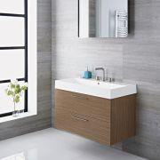 Meuble-lavabo Langley Chêne 90x48x60cm