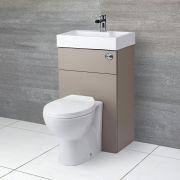 WC avec lave main gris béton & blanc minimaliste Linton