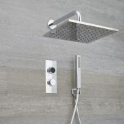Douche Digitale Thermostatique 2 Fonctions - Pommeau Mural 30x30cm & Douchette - Narus