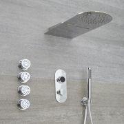 Douche Digitale Thermostatique 3 Fonctions - Pommeau Cascade Mural & Douchette - Narus