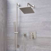 Mitigeur Mécanique - Pommeau 20x20cm & Douchette sur rampe - Harting Nickel Brossé