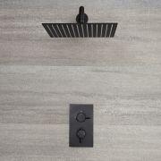 Kit de douche noir - Mitigeur thermostatique encastrable & pommeau de douche 30x30cm - Nox