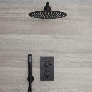 Kit de douche noir - Mitigeur thermostatique encastrable - pommeau de douche Ø 30cm & douchette - Nox