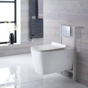 Pack WC Suspendu Sandford - Bâti-support 82x40x15/20cm & Plaque de Déclenchement au Choix