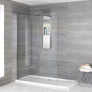 Paroi avec receveur de douche Portland & Colonne de douche thermostatique - Choix de Tailles