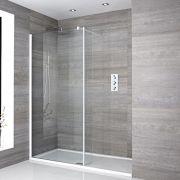 Paroi de douche Profilé blanc 100x195cm Retour & Receveur 170x80cm