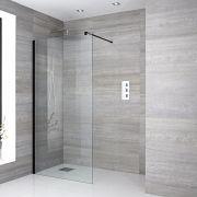 Paroi de douche Profilé noir 140x195cm & Choix de Caniveau de Douche Nox