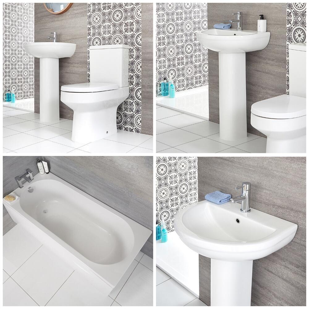 Salle De Bain Et Wc Dans Espace Reduit ensemble salle de bain - baignoire rectangulaire, pack wc & lavabo sur  colonne - covelly