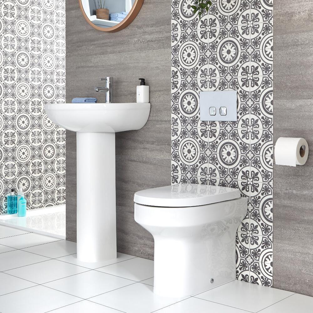 Salle De Bain Et Wc Dans Espace Reduit ensemble salle de bain - baignoire rectangulaire, wc à poser & lavabo sur  colonne - covelly
