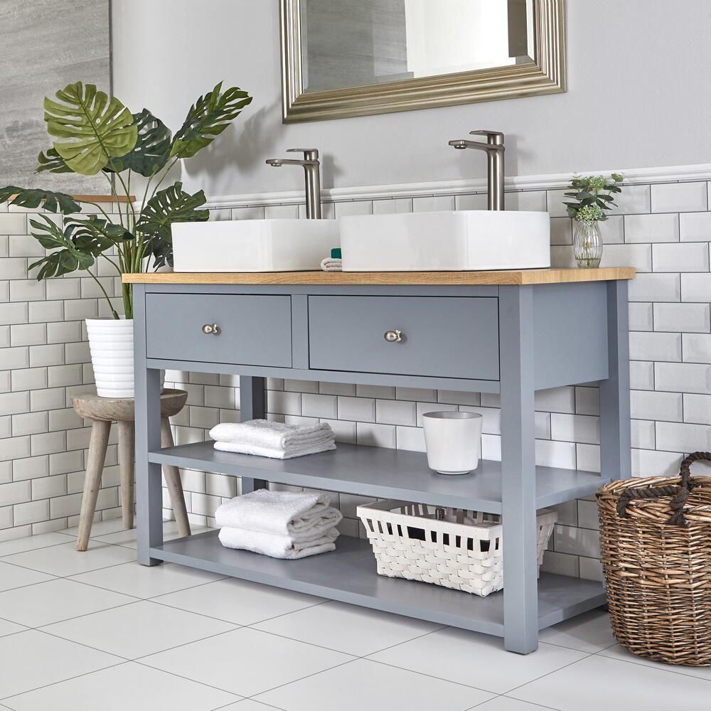 Espace Entre 2 Vasques meuble sous lavabo avec double vasques carrées – 124 cm – gris clair -  stratford