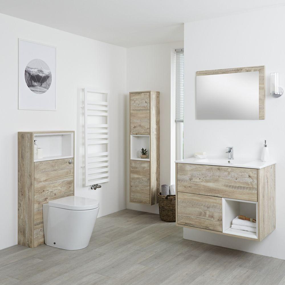 Meuble Pour Vasque Avec Colonne ensemble de meubles de salle de bain - meuble-lavabo, colonne de rangement,  miroir & pack wc - chêne clair hoxton