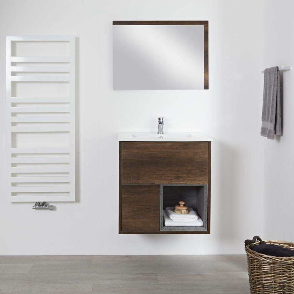 Meuble En Palette Salle De Bain meuble salle de bain chêne foncé avec vasque encastrée - 46,5x61cm - hoxton