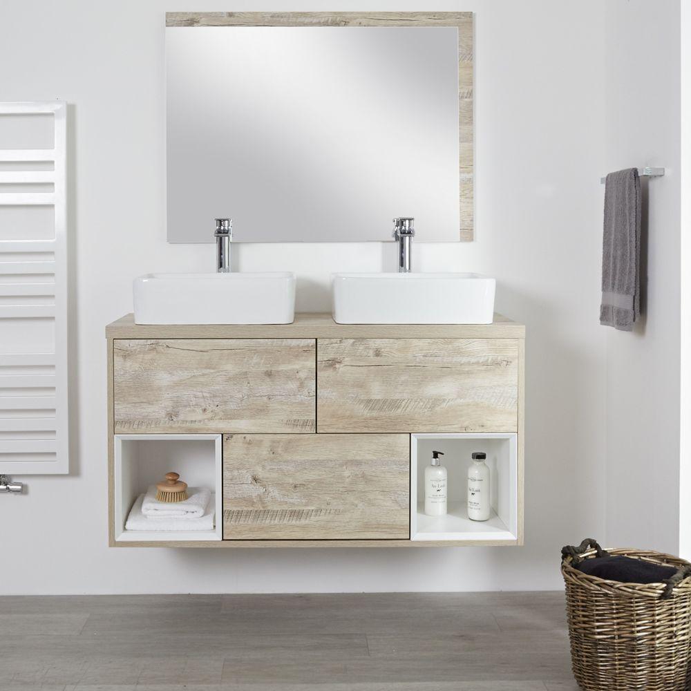 Espace Entre 2 Vasques meuble double vasque 120cm hoxton - chêne clair