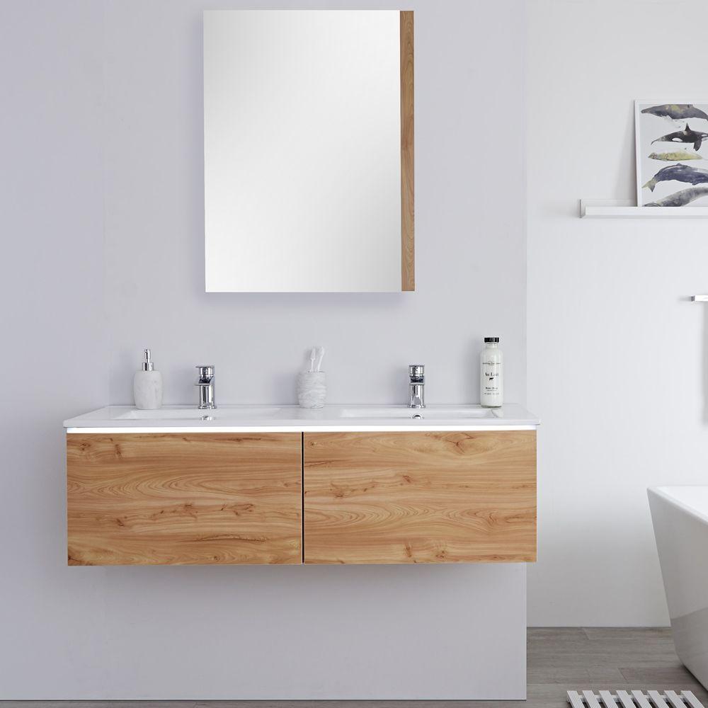 Espace Entre 2 Vasques meuble double vasque 120cm newington chêne doré