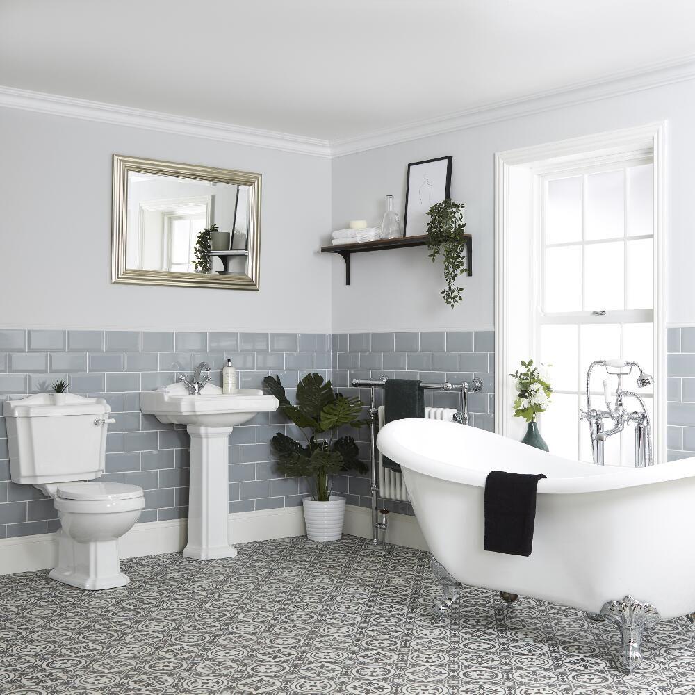 Baignoire îlot avec WC rétro et choix de lavabo – Oxford