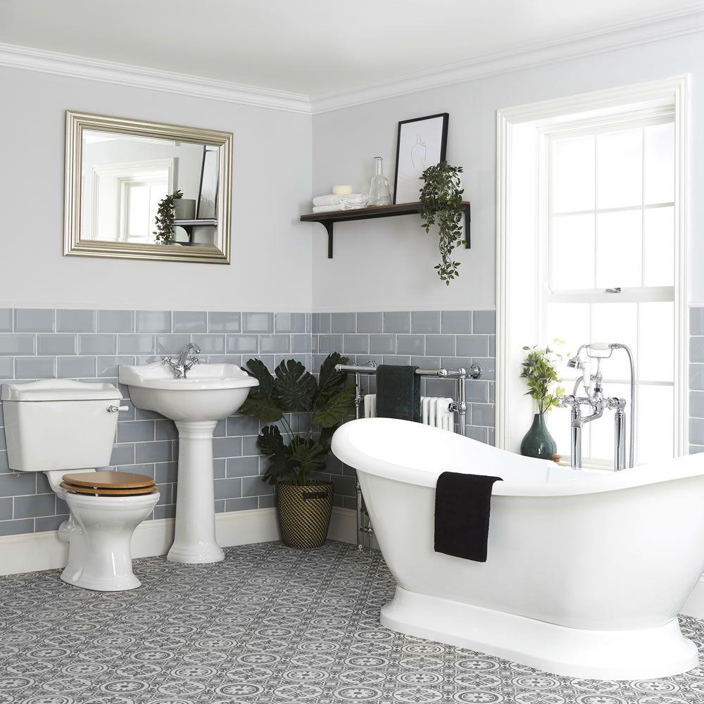 Salle De Bain Avec Baignoire ensemble de salle de bain rétro - baignoire îlot, pack wc et lavabo sur  colonne – ryther