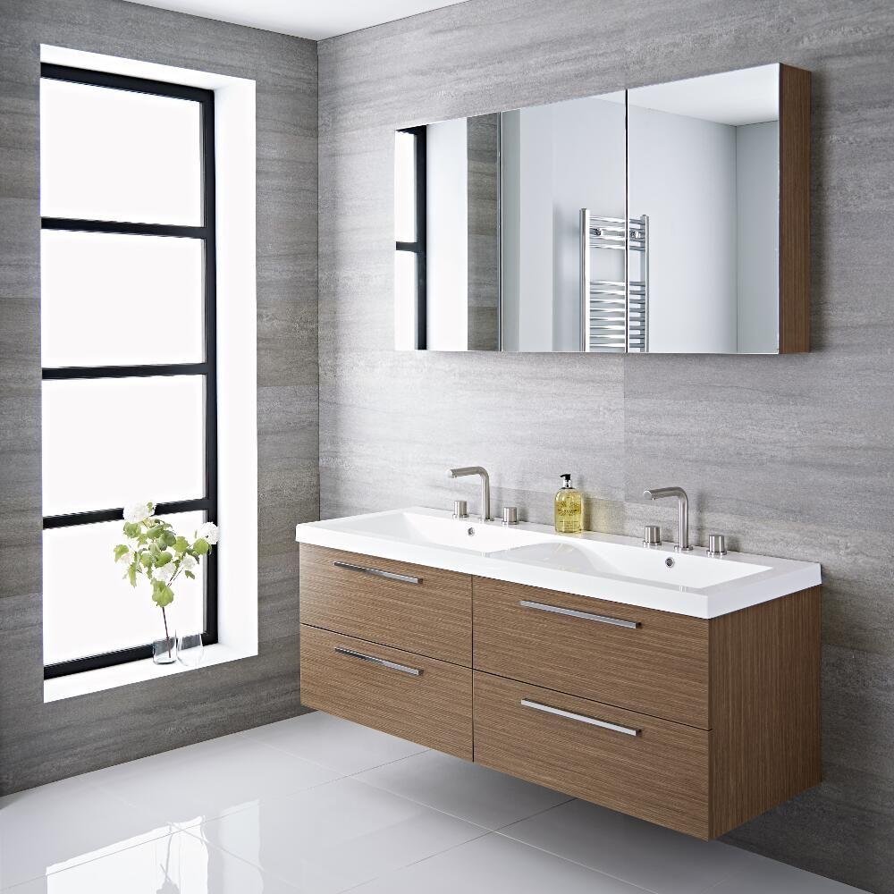 Espace Entre 2 Vasques meuble salle de bain double vasque 144x51x55cm langley chêne
