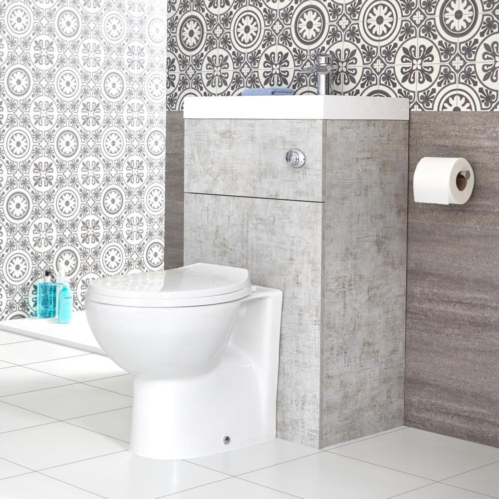 Toilette Blanc Et Gris wc avec lave main gris béton & blanc minimaliste linton