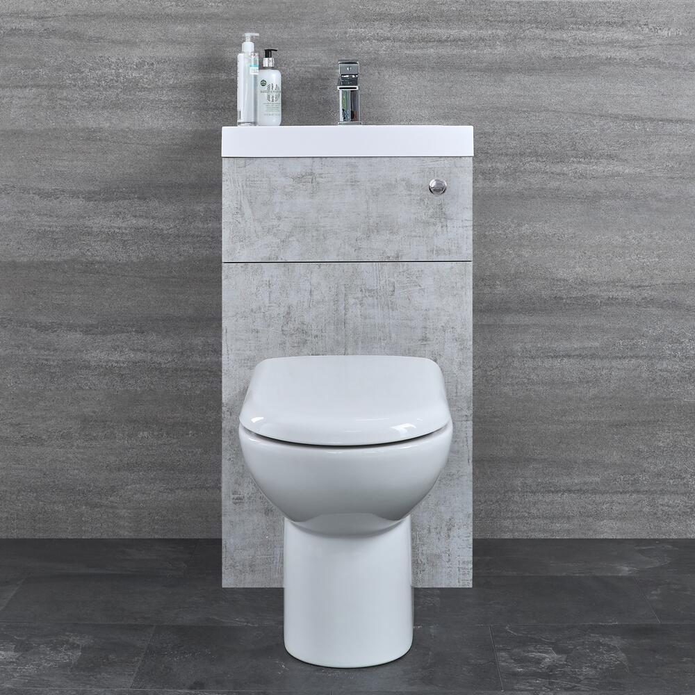 Toilette Blanc Et Gris wc avec lave main gris béton & blanc géométrique