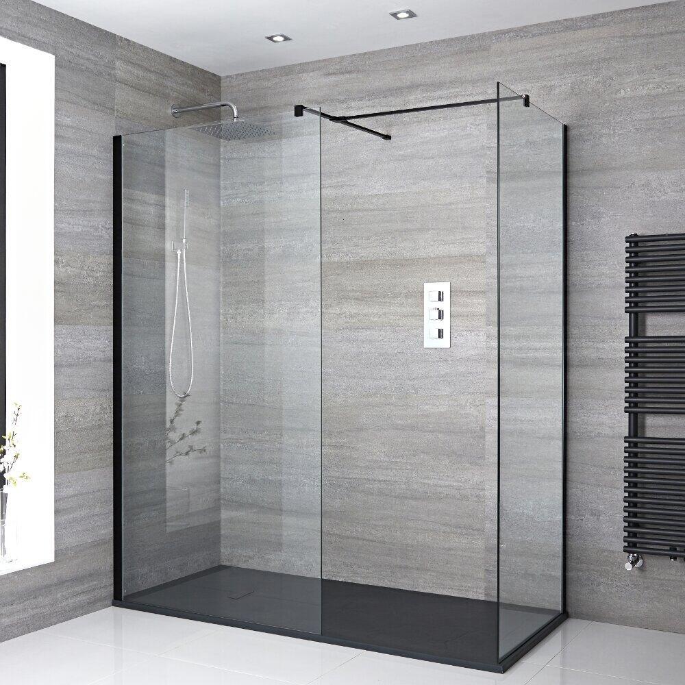 douche italienne d'angle avec receveur de douche à effet