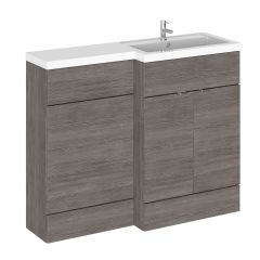 Meuble-lavabo wengé gris brun 110 x 86.4 x 35.5cm Version droite