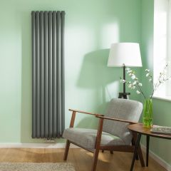 Radiateur Design Vertical Raccordement Central Anthracite Vitality Caldae 178cm x 47,2cm x 7,8cm 1735 Watts