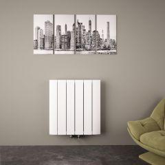Radiateur Design Horizontal Raccordement Central Aluminium Blanc Aurora 60cm x 56,5cm x 4,6cm 768 Watts