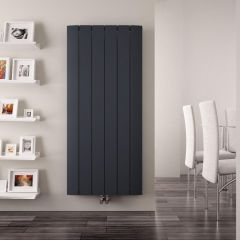 Radiateur Design Vertical Raccordement Central Aluminium Anthracite Aurora 160cm x 56,5cm x 4,6cm 2042 Watts
