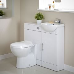 Ensemble Meuble sous Lavabo & Toilette WC Blanc 920 x 752 x 810mm Sienna