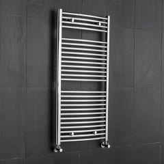 Hudson Reed Sèche-Serviettes Incurvé Chromé Ischia 120cm x 60cm x 5,2cm 570 Watts