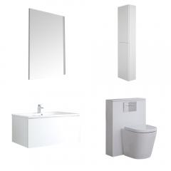 Meuble Lavabo Newington 80cm Blanc Mat - Pack WC & Miroir