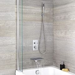 Mitigeur Bain Douche Encastrable Thermostatique Bec Cascade Rectangulaire