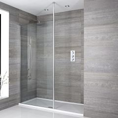 Barre de stabilisation ajustable & verticale chromée pour paroi de douche Sera