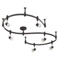 Biard Spot LED Pack de 6 & Rail flexible 3m Forio Noir