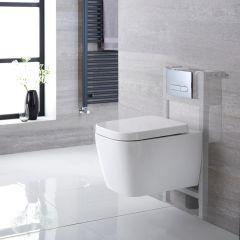 Pack WC Suspendu Milton - Bâti-support 82x40cm & Plaque de Déclenchement - Choix parmi 4 Modèles
