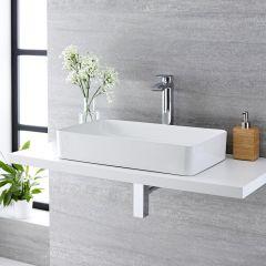 Vasque à poser rectangulaire Aslwear 61 x 35cm & Mitigeur Haut Razor