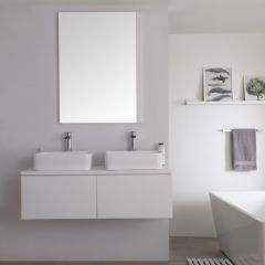 Meuble Double vasque carrée 120cm Newington Blanc Mat
