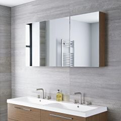 Armoire miroir de salle de bains 135x15x70cm Chêne