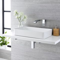 Vasque à poser rectangulaire Aslwear 61 x 35cm & Mitigeur Mural Razor