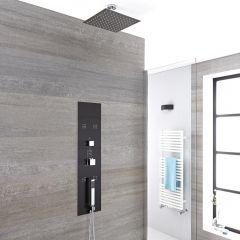 Colonne de Douche Thermostatique Encastrable 90x22cm - Pommeau plafond carré 20cm - Douchette & Buses hydromassantes - Gamme Llis