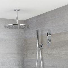 Douche Digitale Thermostatique 2 Fonctions - Pommeau Ø 30cm Plafond & Douchette - Narus