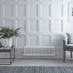 Radiateur Électrique Horizontal Style Fonte Windsor Blanc 30cm x 101cm x 10cm - Triple rang