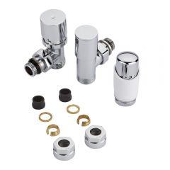 Robinet Radiateur Thermostatique Blanc & Chrome 3/4'' Mâle & Adaptateurs cuivre 15mm